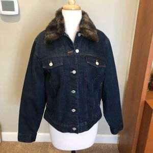 Lauren Ralph Lauren Jean Jacket lined fur collar M